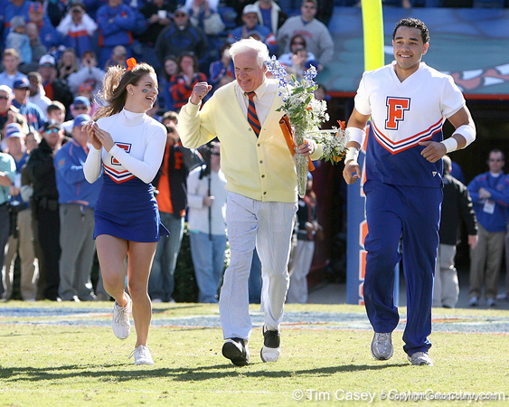 "photo by Tim Casey<br /> <br /> Florida cheerleaders and George ""Mr. Two Bits"" Edmondson participate in the Senior Day ceremony before the Gators' 70-19 win against The Citadel Bulldogs on Saturday, November 22, 2008 at Ben Hill Griffin Stadium in Gainesville, Fla. UF led 49-6 at halftime."