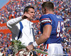 photo by Tim Casey<br /> <br /> Florida head coach Urban Meyer and Florida redshirt senior long snapper James Smith participate in the Senior Day ceremony before the Gators' 70-19 win against The Citadel Bulldogs on Saturday, November 22, 2008 at Ben Hill Griffin Stadium in Gainesville, Fla. UF led 49-6 at halftime.