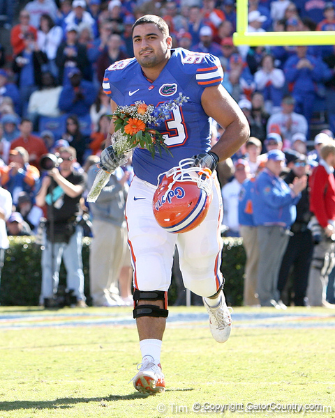 photo by Tim Casey<br /> <br /> Florida redshirt senior defensive tackle Javier Estopinan participates in the Senior Day ceremony before the Gators' 70-19 win against The Citadel Bulldogs on Saturday, November 22, 2008 at Ben Hill Griffin Stadium in Gainesville, Fla. UF led 49-6 at halftime.