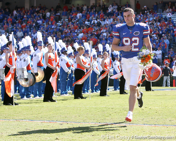 photo by Tim Casey<br /> <br /> Florida senior punter Bobby Kane participates in the Senior Day ceremony before the Gators' 70-19 win against The Citadel Bulldogs on Saturday, November 22, 2008 at Ben Hill Griffin Stadium in Gainesville, Fla. UF led 49-6 at halftime.
