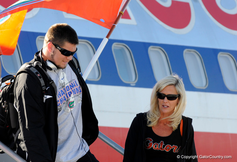 (Casey Brooke Lawson / Gator Country) Sam Robey and the University of Florida football team returns from Miami, after winning the 2008 National College Football Championship, to the Gainesville Regional Airport in Gainesville, Fla., on January 9, 2009.