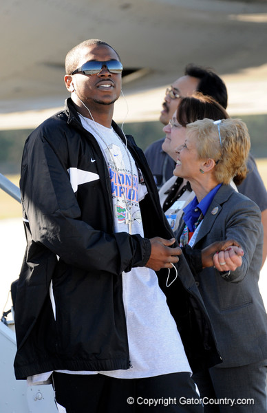(Casey Brooke Lawson / Gator Country) Bryan Thomas and the University of Florida football team returns from Miami, after winning the 2008 BCS National Championship, to the Gainesville Regional Airport in Gainesville, Fla., on January 9, 2009.