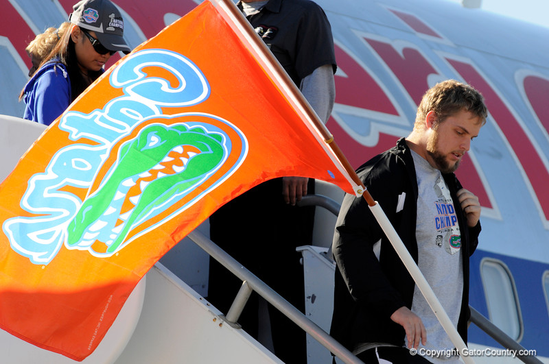 (Casey Brooke Lawson / Gator Country) Shawn Schmieder and the University of Florida football team returns from Miami, after winning the 2008 National College Football Championship, to the Gainesville Regional Airport in Gainesville, Fla., on January 9, 2009.