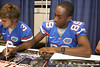 Freshman receiver Stephen Alli signs autpgraphs during the Gators' annual preseason fan day on Sunday, August 16, 2009 at the Stephen C. O'Connell Center in Gainesville, Fla. / Gator Country photo by Tim Casey