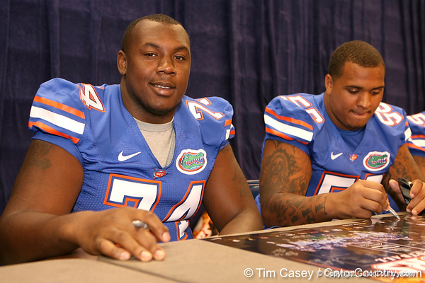 Florida redshirt junior offensive lineman Maurice Hurt signs autographs during the Gators' annual preseason fan day on Sunday, August 16, 2009 at the Stephen C. O'Connell Center in Gainesville, Fla. / Gator Country photo by Tim Casey