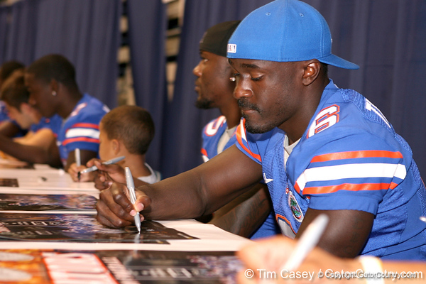 Florida redshirt sophomore Deonte Thompson signs autographs during the Gators' annual preseason fan day on Sunday, August 16, 2009 at the Stephen C. O'Connell Center in Gainesville, Fla. / Gator Country photo by Tim Casey