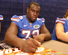 Florida freshman offensive lineman Jonotthan Harrison signs autographs during the Gators' annual preseason fan day on Sunday, August 16, 2009 at the Stephen C. O'Connell Center in Gainesville, Fla. / Gator Country photo by Tim Casey
