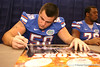 Freshman offensive lineman Nick Alajajian signs autographs during the Gators' annual preseason fan day on Sunday, August 16, 2009 at the Stephen C. O'Connell Center in Gainesville, Fla. / Gator Country photo by Tim Casey