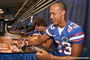 Florida redshirt senior wide receiver David Nelson signs autographs during the Gators' annual preseason fan day on Sunday, August 16, 2009 at the Stephen C. O'Connell Center in Gainesville, Fla. / Gator Country photo by Tim Casey