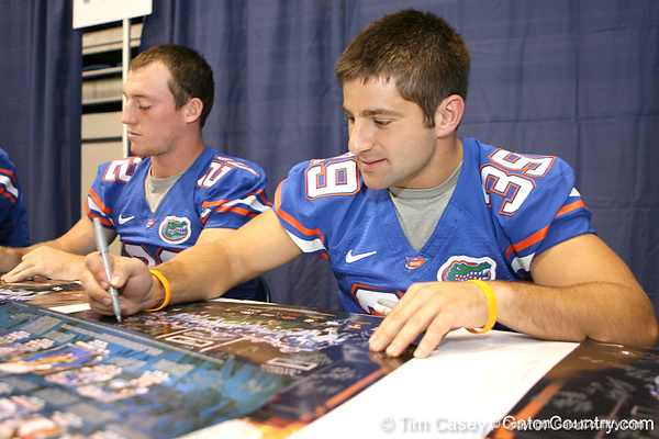 Florida redshirt senior defensive back Joey Sorrentino signs autographs during the Gators' annual preseason fan day on Sunday, August 16, 2009 at the Stephen C. O'Connell Center in Gainesville, Fla. / Gator Country photo by Tim Casey