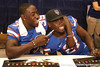 Florida junior safety Ahmad Black jokes with junior safety Major Wright during the Gators' annual preseason fan day on Sunday, August 16, 2009 at the Stephen C. O'Connell Center in Gainesville, Fla. / Gator Country photo by Tim Casey
