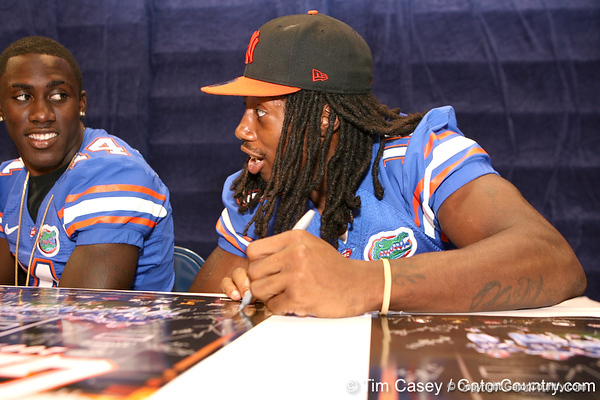 Florida sophomore safety Will Hill signs autographs during the Gators' annual preseason fan day on Sunday, August 16, 2009 at the Stephen C. O'Connell Center in Gainesville, Fla. / Gator Country photo by Tim Casey