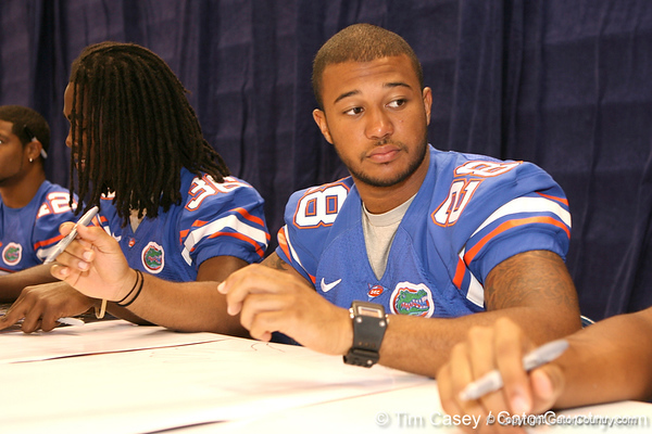 Florida redshirt freshman cornerback Jeremy Brown during the Gators' annual preseason fan day on Sunday, August 16, 2009 at the Stephen C. O'Connell Center in Gainesville, Fla. / Gator Country photo by Tim Casey
