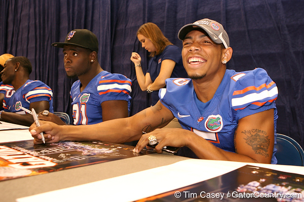 Florida junior defensive back Joe Haden signs autographs during the Gators' annual preseason fan day on Sunday, August 16, 2009 at the Stephen C. O'Connell Center in Gainesville, Fla. / Gator Country photo by Tim Casey
