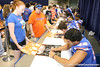 Florida junior defensive end Justin Trattou signs autographs during the Gators' annual preseason fan day on Sunday, August 16, 2009 at the Stephen C. O'Connell Center in Gainesville, Fla. / Gator Country photo by Tim Casey
