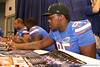 Florida freshman defensive tackle Gary Brown signs autographs during the Gators' annual preseason fan day on Sunday, August 16, 2009 at the Stephen C. O'Connell Center in Gainesville, Fla. / Gator Country photo by Tim Casey