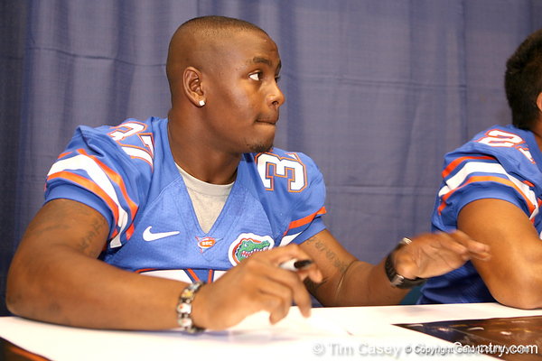 Florida redshirt sophomore cornerback Vincent Brown signs autographs during the Gators' annual preseason fan day on Sunday, August 16, 2009 at the Stephen C. O'Connell Center in Gainesville, Fla. / Gator Country photo by Tim Casey