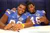 Florida redshirt freshman defensive tackle Omar Hunter and senior defensive end Jermaine Cunningham sign autographs during the Gators' annual preseason fan day on Sunday, August 16, 2009 at the Stephen C. O'Connell Center in Gainesville, Fla. / Gator Country photo by Tim Casey