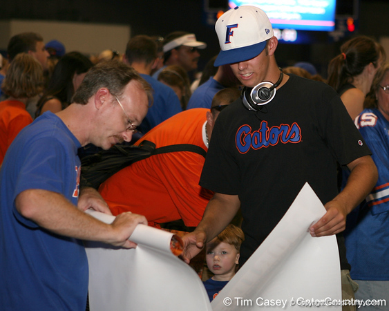 Florida fans line up during the Gators' annual preseason fan day on Sunday, August 16, 2009 at the Stephen C. O'Connell Center in Gainesville, Fla. / Gator Country photo by Tim Casey