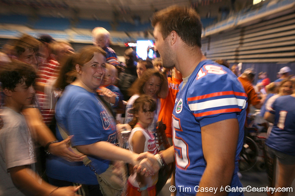 Florida senior quarterback Tim Tebow greets fans during the Gators' annual preseason fan day on Sunday, August 16, 2009 at the Stephen C. O'Connell Center in Gainesville, Fla. / Gator Country photo by Tim Casey