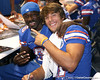 Florida redshirt sophomore Deonte Thompson poses for a photo with senior wide receiver Riley Cooper during the Gators' annual preseason fan day on Sunday, August 16, 2009 at the Stephen C. O'Connell Center in Gainesville, Fla. / Gator Country photo by Tim Casey