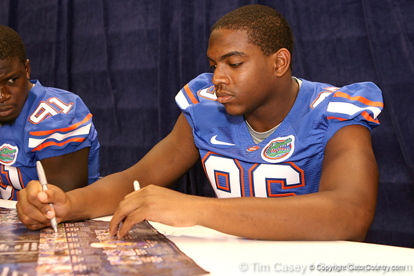 Florida sophomore defensive end William Green signs autographs during the Gators' annual preseason fan day on Sunday, August 16, 2009 at the Stephen C. O'Connell Center in Gainesville, Fla. / Gator Country photo by Tim Casey