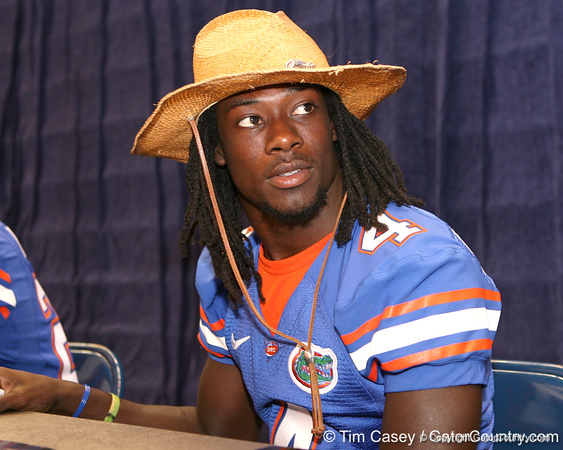 Florida senior cornerback Wondy Pierre-Louis signs autographs during the Gators' annual preseason fan day on Sunday, August 16, 2009 at the Stephen C. O'Connell Center in Gainesville, Fla. / Gator Country photo by Tim Casey