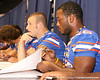 Florida junior linebacker Lorenzo Edwards signs autographs during the Gators' annual preseason fan day on Sunday, August 16, 2009 at the Stephen C. O'Connell Center in Gainesville, Fla. / Gator Country photo by Tim Casey