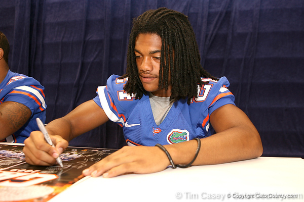 Florida freshman defensive back Josh Evans signs autographs during the Gators' annual preseason fan day on Sunday, August 16, 2009 at the Stephen C. O'Connell Center in Gainesville, Fla. / Gator Country photo by Tim Casey