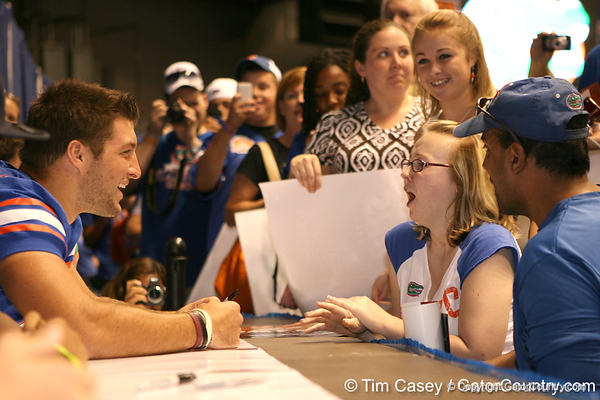 Florida senior quarterback Tim Tebow talks with fans during the Gators' annual preseason fan day on Sunday, August 16, 2009 at the Stephen C. O'Connell Center in Gainesville, Fla. / Gator Country photo by Tim Casey