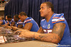 Florida junior offensive lineman Mike Pouncey signs autographs during the Gators' annual preseason fan day on Sunday, August 16, 2009 at the Stephen C. O'Connell Center in Gainesville, Fla. / Gator Country photo by Tim Casey