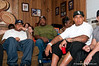 At his parents' home in Lakeland, former Florida center Maurkice Pouncey talks with officials from the Pittsburgh Steelers after he was drafted in the first round of the NFL Draft on Thursday. / Photo by Tim Darby for GatorCountry.com