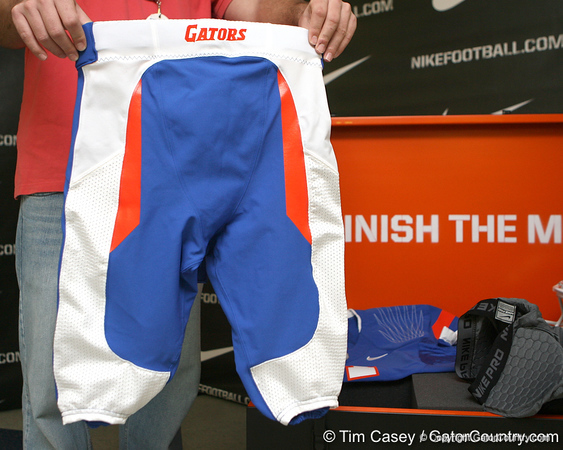 The Nike Pro Combat uniforms that the Gators will wear against Florida State were presented on Saturday, November 21, 2009 at the Stephen C. O'Connell Center in Gainesville, Fla. / photo by Tim Casey