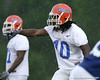 photo by Tim Casey<br /> <br /> Will Hill points out a blocker during the Gators' second day of spring football practice on Friday, March 27, 2009 at the Sanders football practice fields in Gainesville, Fla.