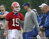 photo by Tim Casey<br /> <br /> Tim Tebow talks with Scot Loeffler during the Gators' second day of spring football practice on Friday, March 27, 2009 at the Sanders football practice fields in Gainesville, Fla.