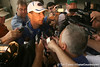 photo by Tim Casey<br /> <br /> Urban Meyer talks to reporters after the Gators' second day of spring football practice on Friday, March 27, 2009 at the Sanders football practice fields in Gainesville, Fla.