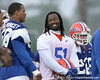 photo by Tim Casey<br /> <br /> Florida senior linebacker Brandon Spikes jokes with a teammate during the Gators' second day of spring football practice on Friday, March 27, 2009 at the Sanders football practice fields in Gainesville, Fla.