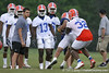 photo by Tim Casey<br /> <br /> Dustin Doe stops Emmanuel Moody during the Gators' second day of spring football practice on Friday, March 27, 2009 at the Sanders football practice fields in Gainesville, Fla.