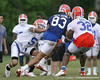 photo by Tim Casey<br /> <br /> Joe Haden defends David Nelson during the Gators' second day of spring football practice on Friday, March 27, 2009 at the Sanders football practice fields in Gainesville, Fla.