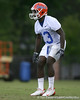 photo by Tim Casey<br /> <br /> Dee Finley works out during the Gators' second day of spring football practice on Friday, March 27, 2009 at the Sanders football practice fields in Gainesville, Fla.
