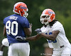 photo by Tim Casey<br /> <br /> Desmond Parks and Will Hill work out during the Gators' second day of spring football practice on Friday, March 27, 2009 at the Sanders football practice fields in Gainesville, Fla.