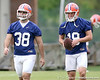 photo by Tim Casey<br /> <br /> Jonathan Phillips walks with Caleb Sturgis during the Gators' second day of spring football practice on Friday, March 27, 2009 at the Sanders football practice fields in Gainesville, Fla.