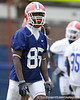 photo by Tim Casey<br /> <br /> Frankie Hammond, Jr. works out during the Gators' second day of spring football practice on Friday, March 27, 2009 at the Sanders football practice fields in Gainesville, Fla.