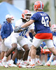 photo by Tim Casey<br /> <br /> Will Hill works out during the Gators' second day of spring football practice on Friday, March 27, 2009 at the Sanders football practice fields in Gainesville, Fla.
