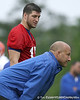 photo by Tim Casey<br /> <br /> Tim Tebow talks with Steve Addazio during the Gators' second day of spring football practice on Friday, March 27, 2009 at the Sanders football practice fields in Gainesville, Fla.