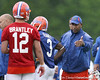 photo by Tim Casey<br /> <br /> Kenny Carter gives instructions during the Gators' second day of spring football practice on Friday, March 27, 2009 at the Sanders football practice fields in Gainesville, Fla.