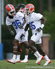 photo by Tim Casey<br /> <br /> Moses Jenkins talks with Ahmad Black during the Gators' second day of spring football practice on Friday, March 27, 2009 at the Sanders football practice fields in Gainesville, Fla.