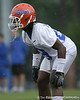 photo by Tim Casey<br /> <br /> Janoris Jenkins works out during the Gators' second day of spring football practice on Friday, March 27, 2009 at the Sanders football practice fields in Gainesville, Fla.