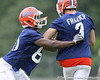 photo by Tim Casey<br /> <br /> Desmond Parks works out during the Gators' second day of spring football practice on Friday, March 27, 2009 at the Sanders football practice fields in Gainesville, Fla.