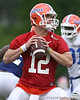 photo by Tim Casey<br /> <br /> Florida redshirt sophomore quarterback John Brantley looks to pass during the Gators' second day of spring football practice on Friday, March 27, 2009 at the Sanders football practice fields in Gainesville, Fla.